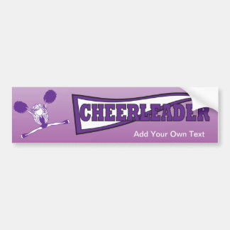 Purple Cheerleader Girl Silhouette Bumper Sticker