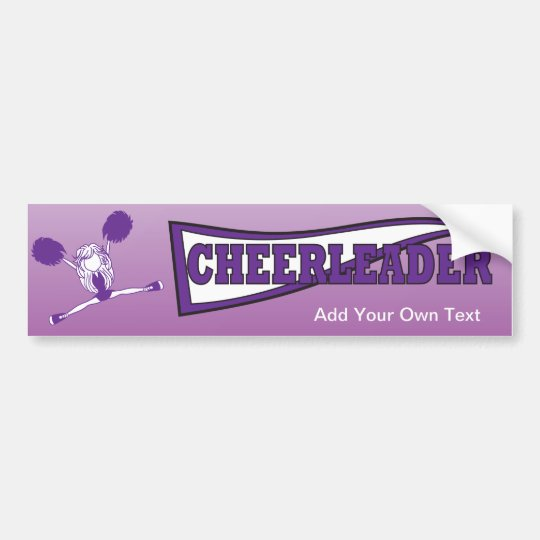 Purple Cheerleader Girl Silhouette Bumper Sticker