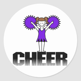 Purple  Cheerleading T-shirts and Gifts Classic Round Sticker