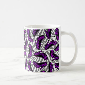 Purple Cheetah High Heel Shoe Print on Zebra Coffee Mug