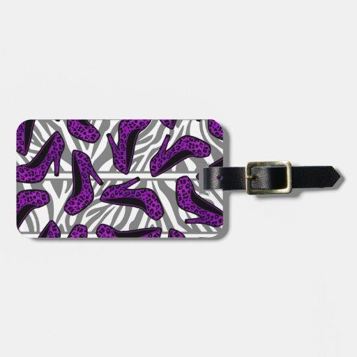 purple cheetah high heel shoe print on zebra tags for bags
