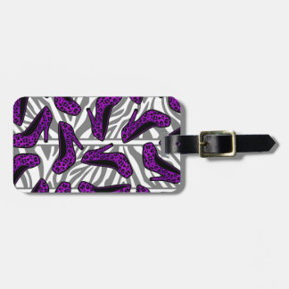 Purple Cheetah High Heel Shoe Print on Zebra Tags For Bags