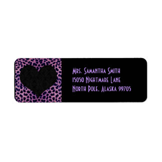 Purple Cheetah Print Black Heart - Custom Address Return Address Label