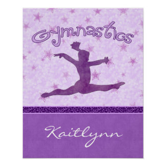 Purple Cheetah Print Stripe Gymnastics w/ Monogram