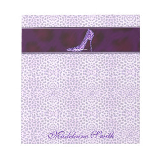 Purple Cheetah Print with her Name Notepad
