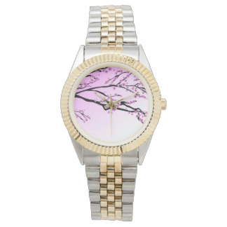 Purple Cherry Blooms Wrist Watch
