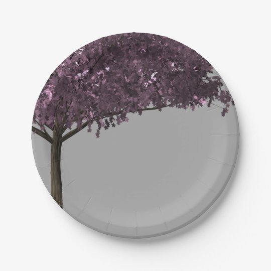 Purple Cherry Blossom Tree Silver Grey Background Paper Plate