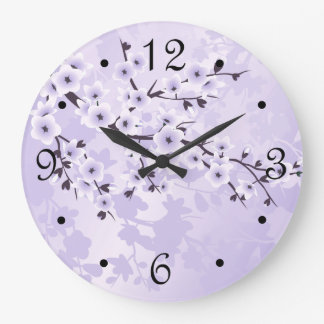Purple  Cherry Blossoms Floral Large Clock