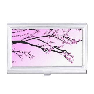 Purple Cherry Flower Sakura Case For Business Cards