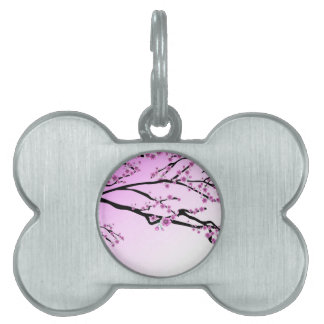 Purple Cherry Flower Sakura Pet ID Tag