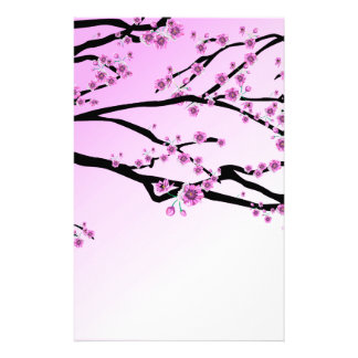 Purple Cherry Flower Sakura Stationery Design