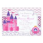 Purple Chevron and Damask Princess Birthday Party Card