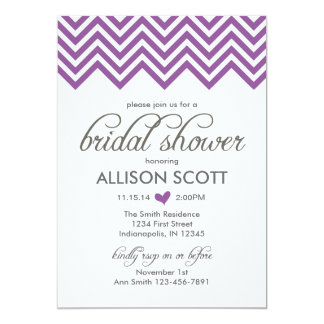 Purple Chevron Bridal Shower Invitation