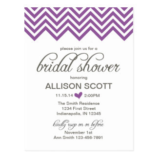 Purple Chevron Bridal Shower Postcard