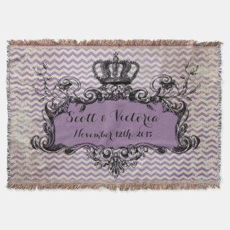 Purple Chevron Custom Wedding Royal Crown Throw