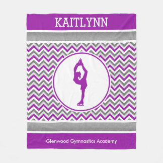 Purple Chevron Figure Skater Personalized Blanket