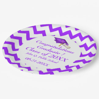 Purple Chevron Graduation Paper Party Plates