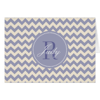 Purple Chevron Monogram Note Cards