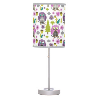 Purple Chevron Owls Lamp