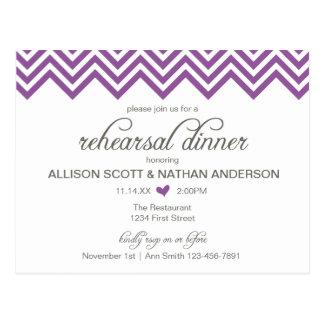 Purple Chevron Rehearsal Dinner Invite Postcard