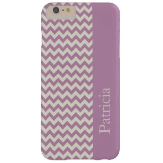 Purple Chevron Stripe Custom Name Barely There iPhone 6 Plus Case