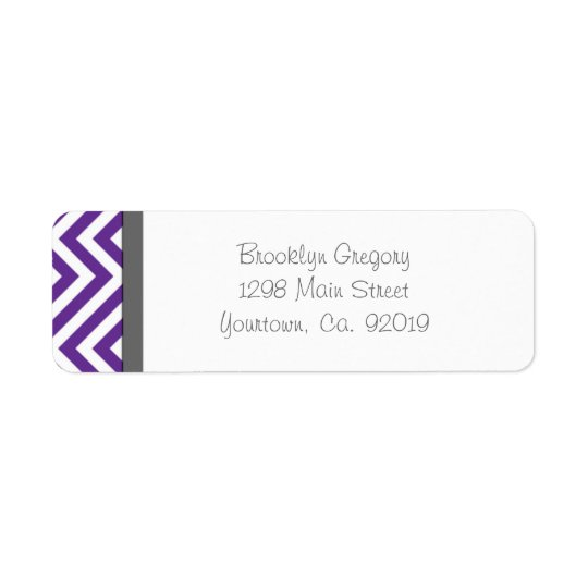 Purple Chevron Stripe Return Address Label