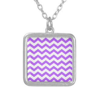purple chevron stripes silver plated necklace