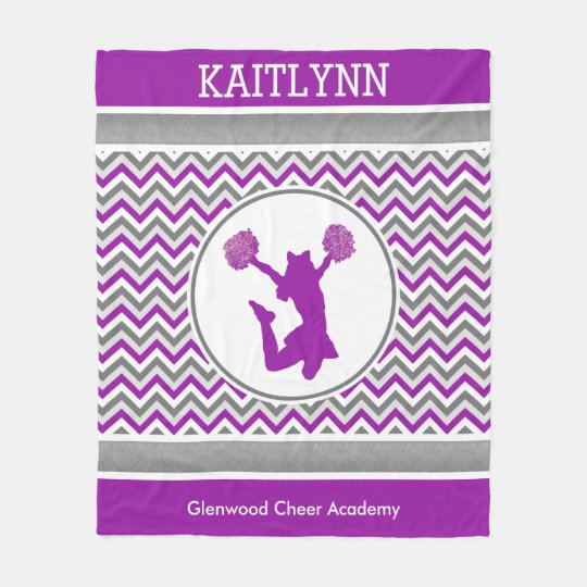Purple Chevrons Monogrammed Cheer/Pom Fleece Blanket