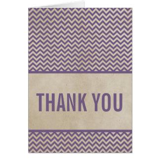 Purple Chic Chevron Thank You Card