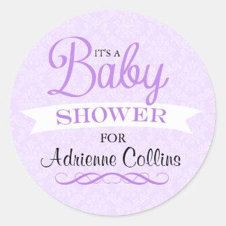 Purple Chic Damask Baby Shower Sticker