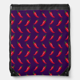 Purple chili peppers pattern drawstring backpack