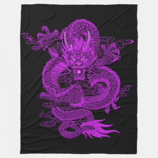 Purple Chinese Emperor Dragon Fleece Blanket