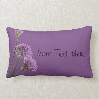 purple chives in bloom lumbar pillow
