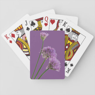 purple chives in bloom playing cards
