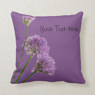 purple chives in bloom throw pillow