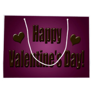 Purple Chocolate Happy Valentine Large Gift Bag