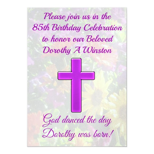 PURPLE CHRISTIAN 85TH BIRTHDAY INVITATION