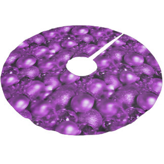Purple Christmas Baubles Brushed Polyester Tree Skirt
