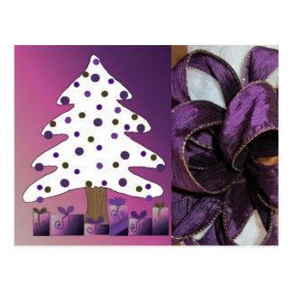 Purple Christmas Decorations Postcard