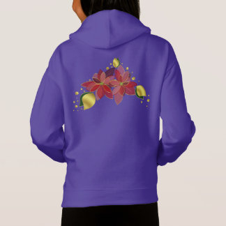 Purple christmas floral fleece pullover