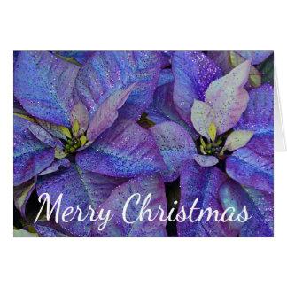 Purple christmas poinsettia card