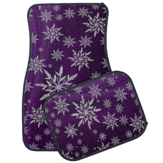 Purple Christmas stars with white ice crystal Car Mat