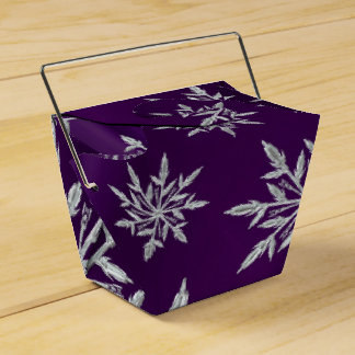 Purple Christmas stars with white ice crystal Favor Box