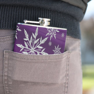 Purple Christmas stars with white ice crystal Hip Flask