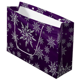 Purple Christmas stars with white ice crystal Large Gift Bag