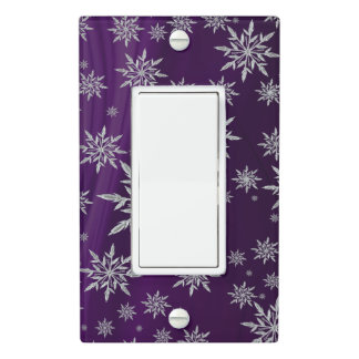 Purple Christmas stars with white ice crystal Light Switch Cover