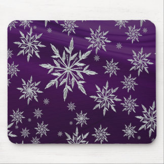Purple Christmas stars with white ice crystal Mouse Pad