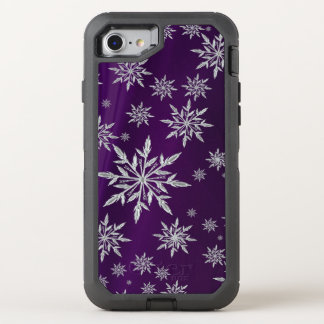 Purple Christmas stars with white ice crystal OtterBox Defender iPhone 8/7 Case