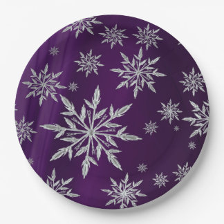 Purple Christmas stars with white ice crystal Paper Plate