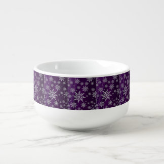 Purple Christmas stars with white ice crystal Soup Mug